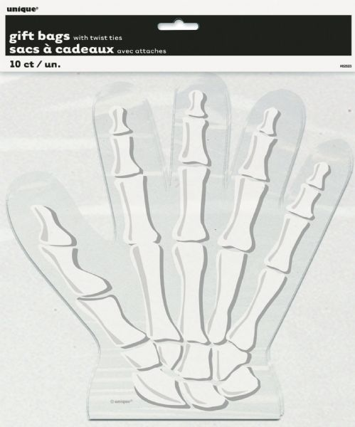 Skeleton Hand Shaped Cellophane Bags (10)